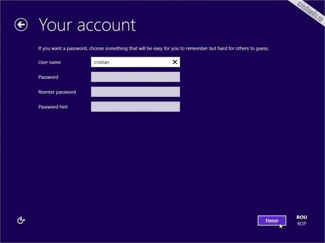crearea contului local in windows 10