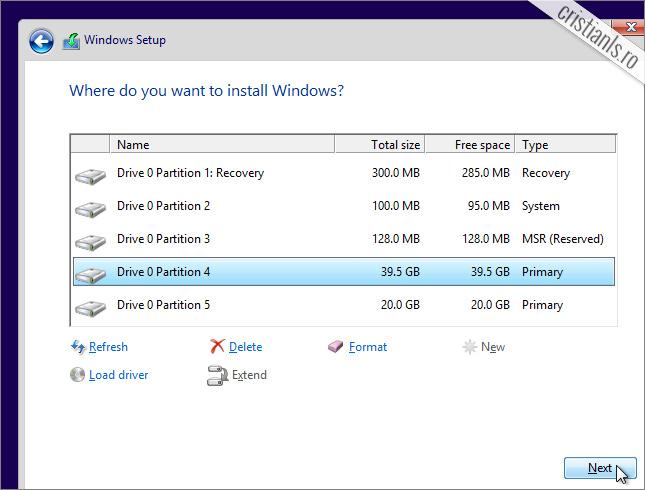 porneste instalare windows 10
