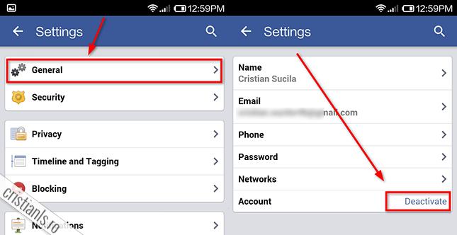 sterge cont facebook » general » account » deactivate