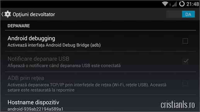 dezactivare android debugging