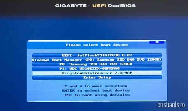 boot-are de pe stickul USB