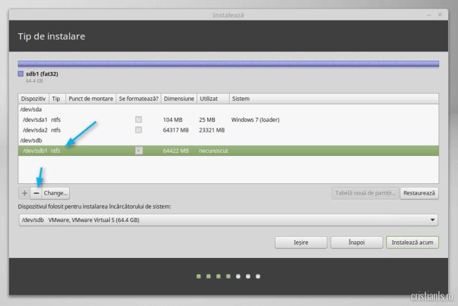 stergere partitie pentru instalarea Linux Mint