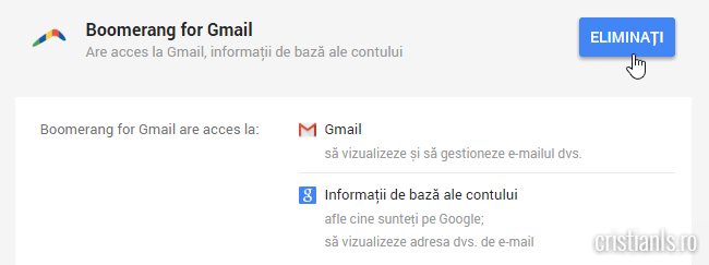 eliminati autorizatie boomerang for gmail