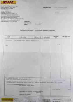 Factură taxe vamale emisă de DHL