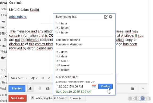 programare trimitere email prin gmail