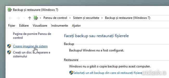 creare imagine de sistem windows 10
