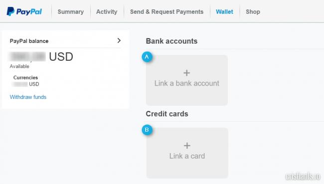 asocierea unui cont bancar sau card de credit sau debit