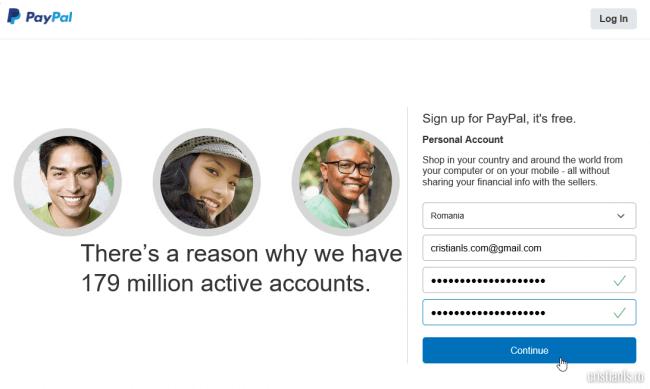 creare cont PayPal: tara, adresa de email si parola