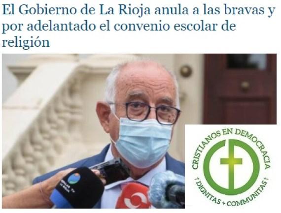 El Gobierno Socialista de La Rioja impide el derecho a recibir Religión en los centros escolares.