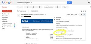 Correo de Spoofing del BBVA