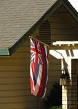 Hawaiian flag in front of a house