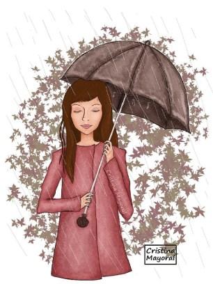 cristina mayoral, ilustracion, ilustradora, paraguas, lluvia, otoño, poesía