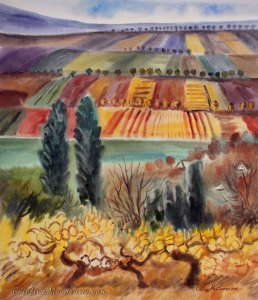 Autumn fields in Secareni village watercolor painting by Cristina Movileanu