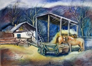 Horse Barn rural watercolor painting by Cristina Movileanu