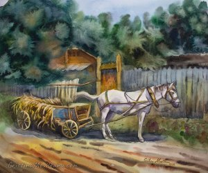 Horse cart at the gate rural watercolor painting by Cristina Movileanu