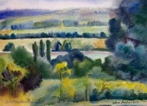 wet on wet July landscape watercolor painting