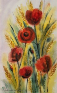 Poppies and wheat in the field watercolor painting by Cristina Movileanu