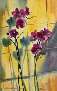 Purple orchid in the sunlight on a yellow background, watercolor painting by Cristina Movileanu
