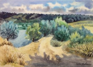 road, pond, landscape, colorful, art, artistic, watercolor, painting, Cristina Movileanu