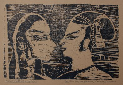 Egyptian love 2006, Woodcut (xilography),18x28cm