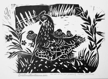 Hen with chicks 2015, linocut, 21×31 cm