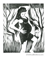 Waiting for the baby 2012, linocut, 24×29 cm