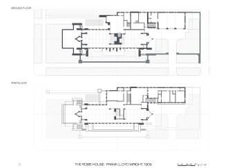 Robie House, Wright, plans, planos, plantas, well drawn
