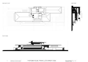 Robie House, sides, alzados, sombras, planta cubierta, deck