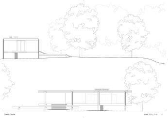 Farnsworth house, casa, mies van der Rohe, drawings, original, sections