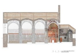 Salardu, church, vall d'aran, drawing, stones, well drawn, beautiful, precision, painted section