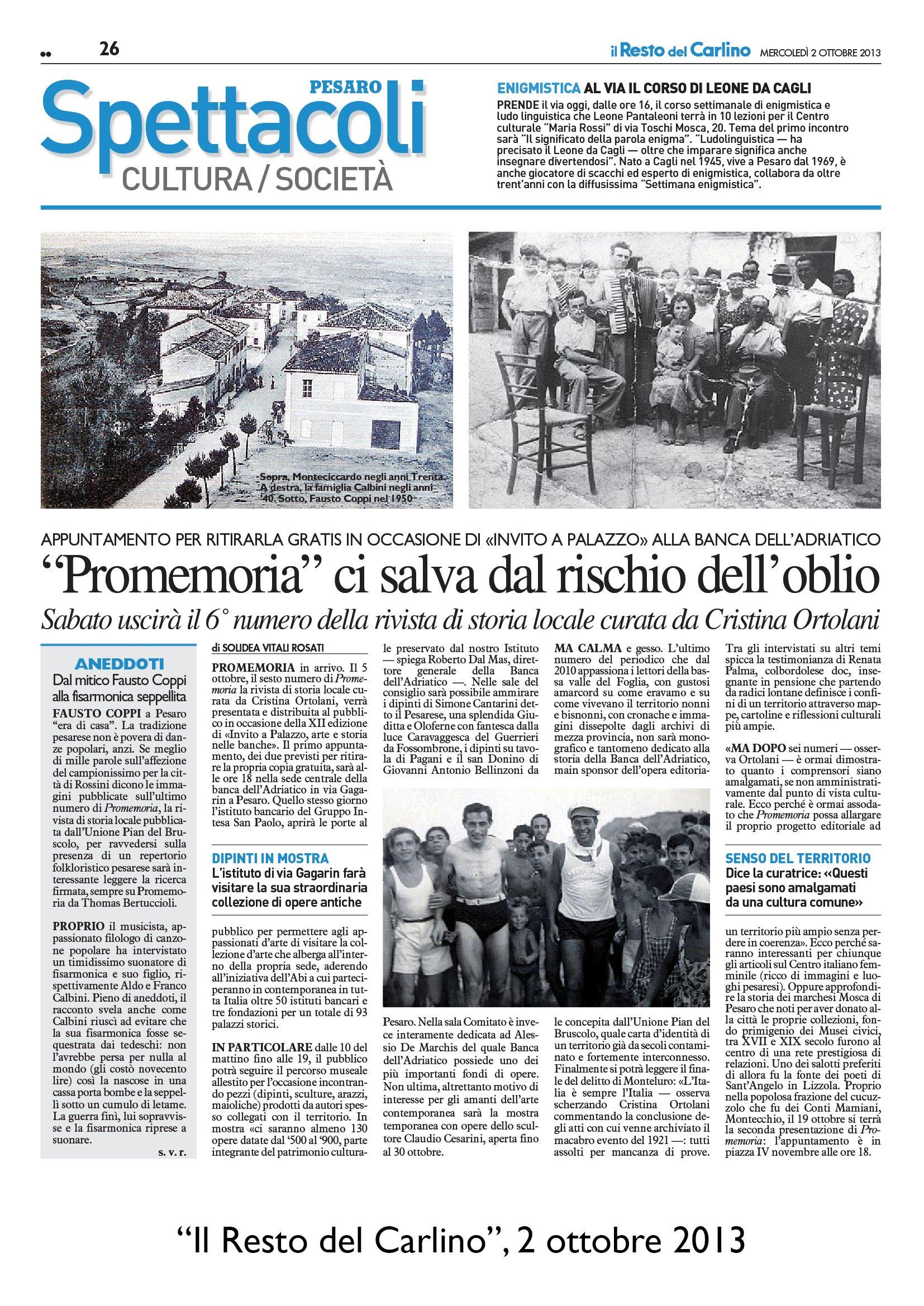 """""""Il Resto del Carlino"""" Pesaro, 2 ottobre 2013"""