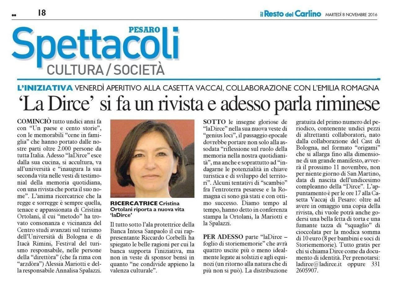"""""""Il Resto del Carlino"""", Pesaro, 8 novembre 2016"""