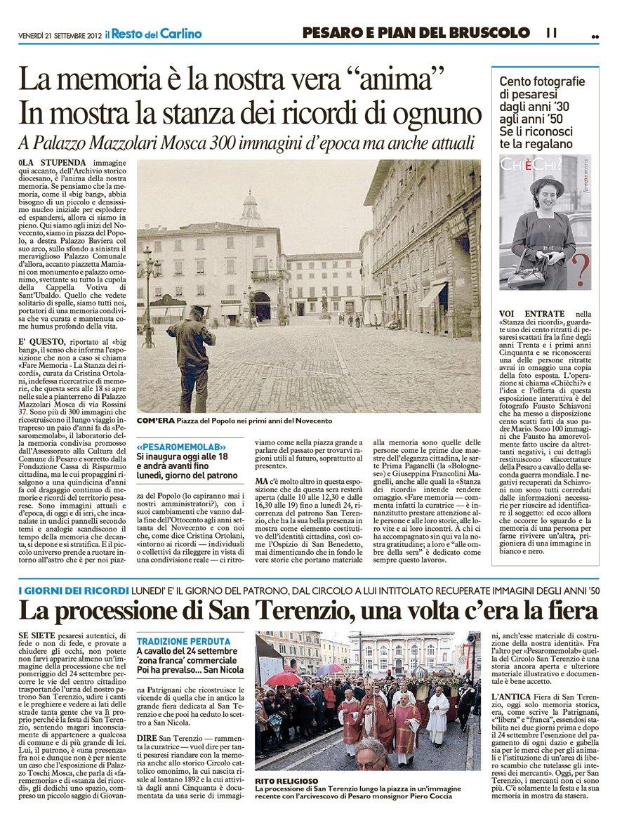 """""""Il Resto del Carlino"""" Pesaro, 21 settembre 2012"""