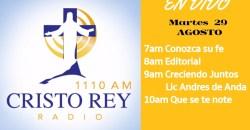#CRR #CristoReyRadio #EnVivo Mart 29 Agosto 7am a 11am