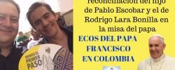 El gesto de reconciliación del hijo de Pablo Escobar y el de Rodrigo Lara Bonilla en la misa del papa