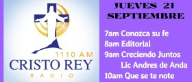 Cristo Rey Radio En Vivo 21 Sept 7am a 11am
