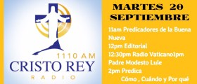 Cristo Rey radio En Vivo – MIercoles 20 Sept 11am a 3pm