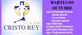 Cristo Rey Radio En vivo Martes 3 Octubre 11am a 3pm