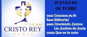 Cristo Rey Radio En Vivo Jueves 5 Octubre 7am a 11am