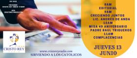 Cristo Rey Radio En Vivo  Jueves 11 Junio 8am a 12pm