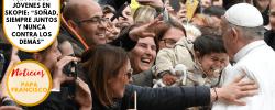 """Papa a los jóvenes en Skopie: """"Soñad, siempre juntos y nunca contra los demás"""""""