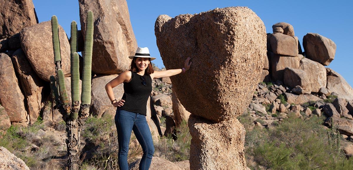 Cristy Elmendorp at a rock in Phoenix Arizona