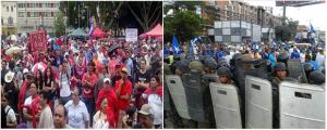El Frente Nacional de Resistencia Popular salió a las calles a conmemorar sexto aniversario del  se Golpe de estado del 2009 mientras los nacionalistas a apoyar a Juan Hernández.