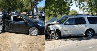 Chocan seis automóviles sobre el bulevar Nuevo Hidalgo. Foto: Saúl Hernández