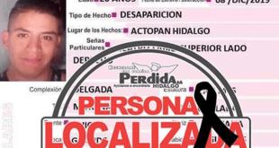 Encuentran sin vida a una persona no localizada en Hidalgo