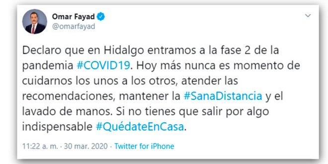 Entra Hidalgo a fase 2 ante la pandemia de coronavirus Covid-19