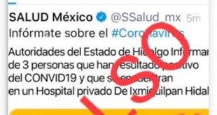 Alerta Salud por publicación falsa sobre coronavirus en Hidalgo