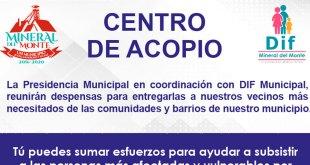 Mineral del Monte organizará centro de acopio por COVID-19
