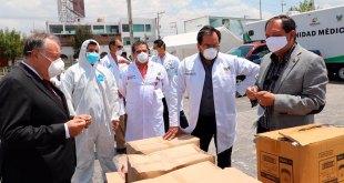 Siguen empresas apoyando a personal en el hospital inflable