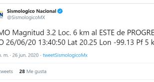 Registró Sismológico Nacional un sismo este viernes en Progreso